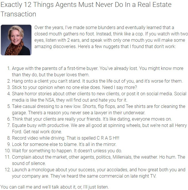 Agent Insights -  Exactly 12 Things Agents Must Never Do In a Real Estate Transaction