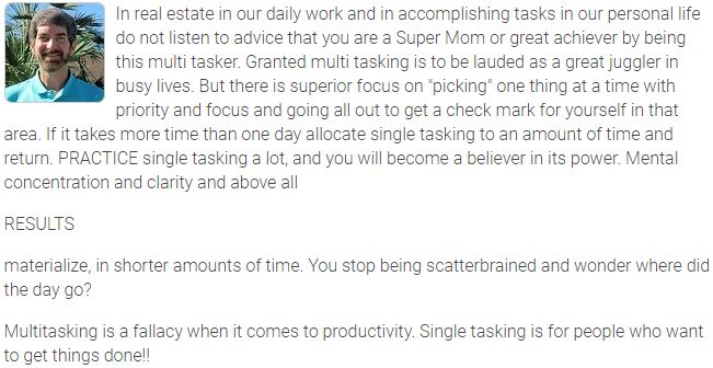 Agent Insights - The Strength Of Single Tasking