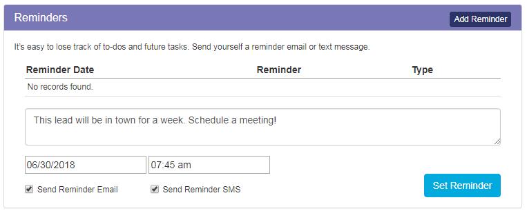 Zurple Reminder Feature